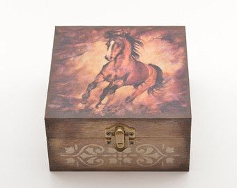 Horse Jewelry Box Galloping Horses Jewelry Box Wooden Jewelry Boxpastimeart