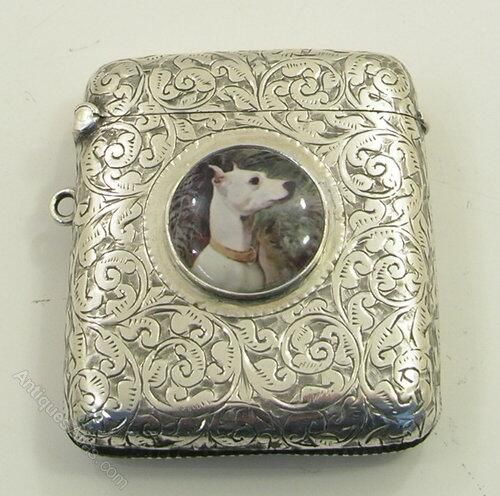 Victorian silver Vesta case with enamel dog. (1899