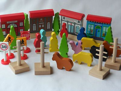 Wooden Townvillage Accessories For Brioelc Wooden Train Or Road