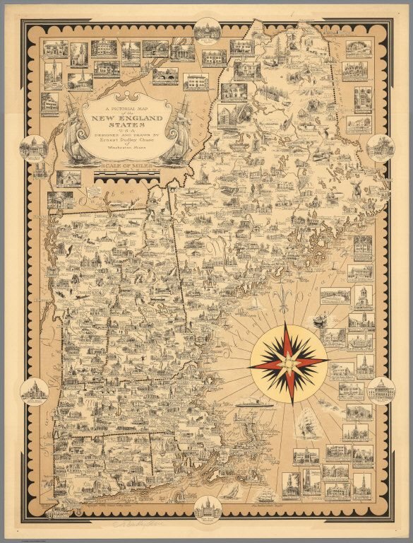 Pictorial Map of the New England States USA Chase Ernest Dudley