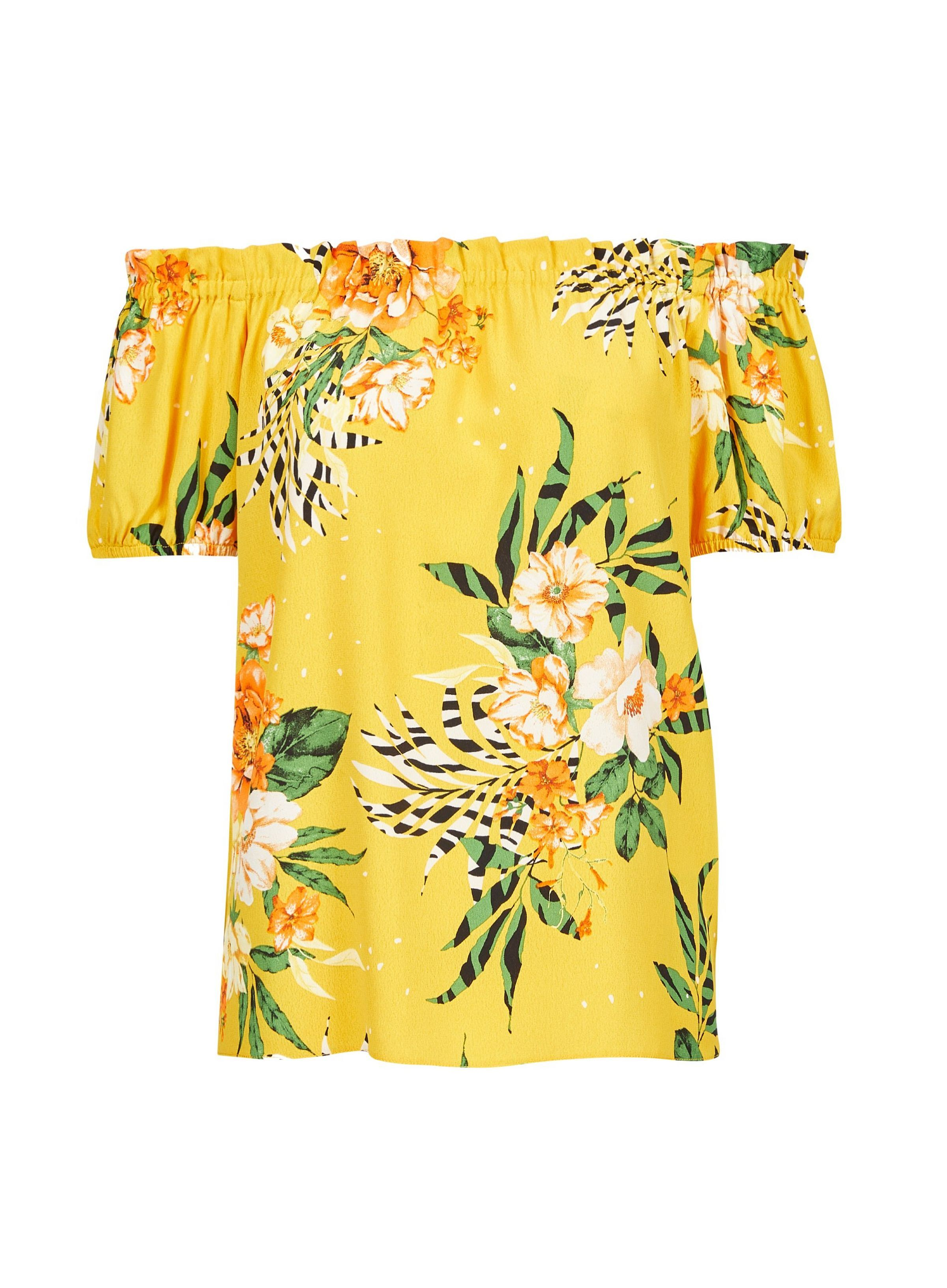 416c13794f5 Yellow Floral Print Bardot Top in 2019 | JRC IN-STORE 2019 | Bardot ...