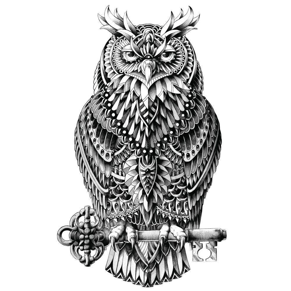Great horned owl wall sticker decal u ornate bird animal art by