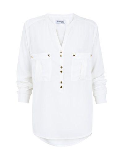 SuiteBlanco- camisa bolsillos cuello mao