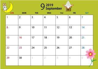 19年9月カレンダー お月見 無料 イラスト 素材 カレンダー 無料 カレンダー