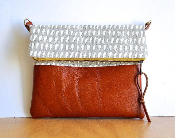 Organic, Hand printed Linen & Leather Foldover Clutch - Handmade ...