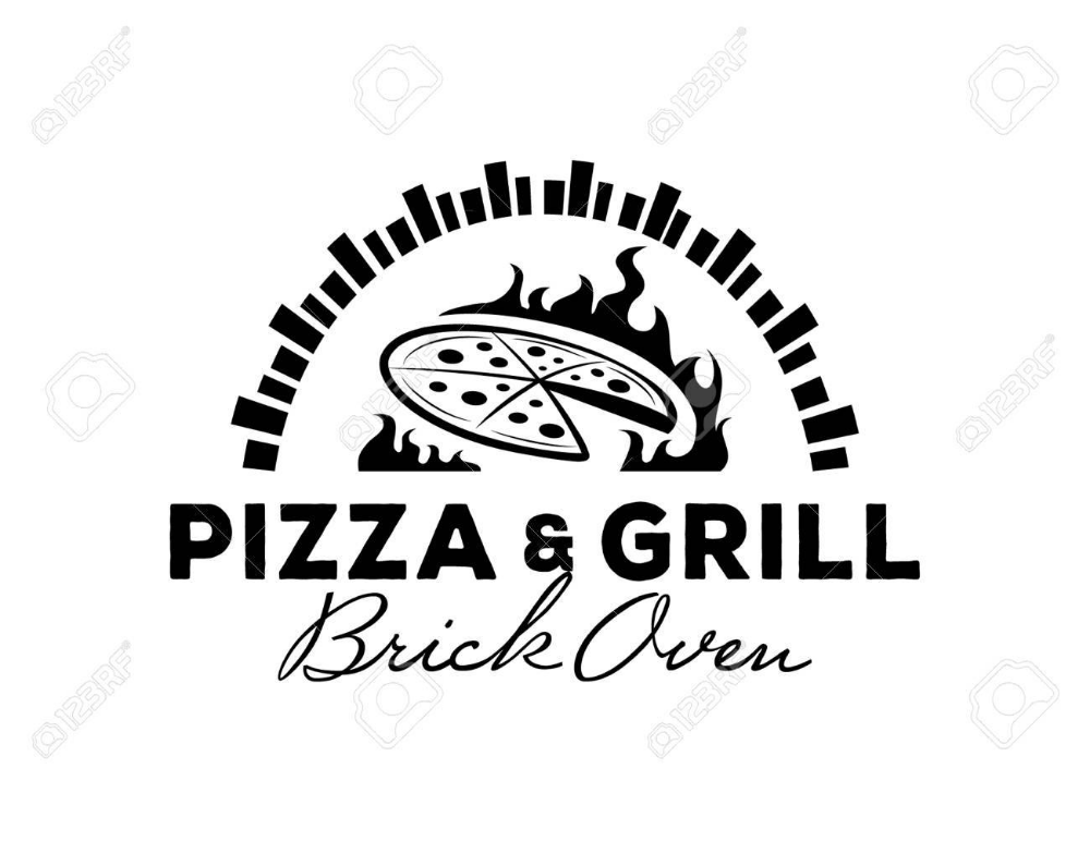 pizza & grill logo with hot brick oven Grill logo