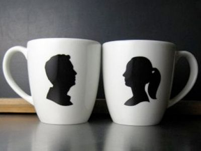 heres a cool gift someone can get you for your wedding silhouette coffee mugs of