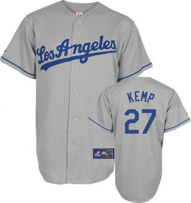 Matt Kemp Jersey  Adult Majestic Road Grey Los Angeles Dodgers Jersey 99b8d673590