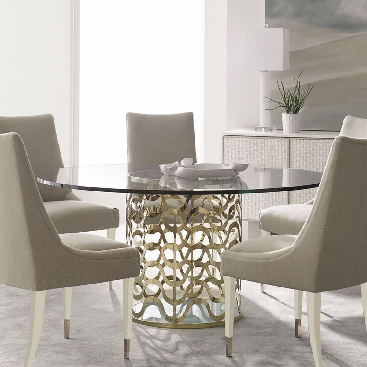 Caracole Ride The Waves Dining Table Candelabra Inc Contemporary Round Dining Room Round Dining Room Glass Round Dining Table #round #glass #table #for #living #room
