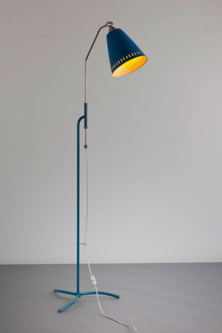 Anonymous; Brass and Enameled Metal Floor Lamp, c1955. | LOW