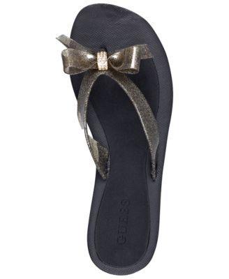 afa06cd92 GUESS Tutu Bow Flip Flops Women s Shoes