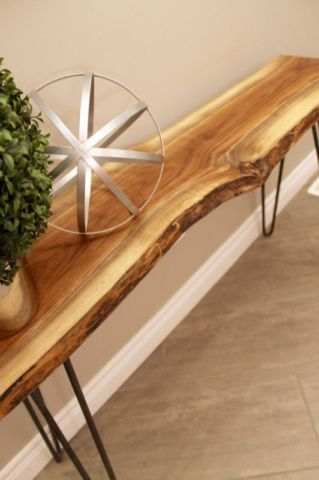 The Live Edge Console Table W Hairpin Legs Coffee Tables