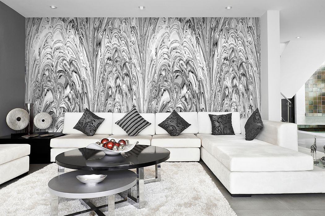 elegantes-wanddesign-hell-grau-weiss-tapete-wohnzimmer-objekt - wohnzimmer design weiss