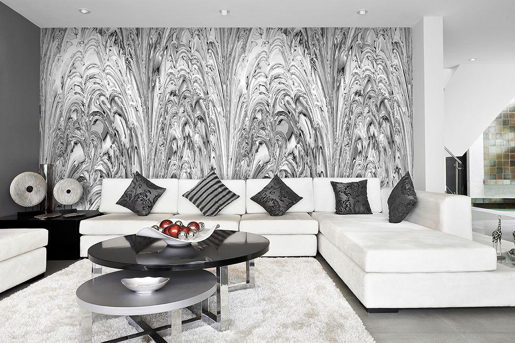 elegantes wanddesign hell grau weiss tapete wohnzimmer objekt - Tapete Wohnzimmer Hell