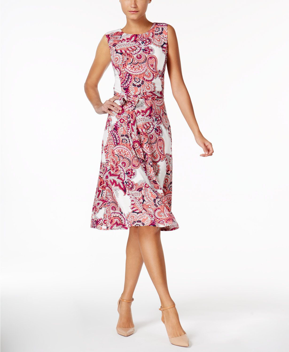 Charter club petite paisleyprint fit flare dress