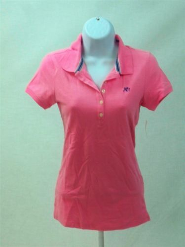 Aeropostale-Womens-Juniors-Short-Sleeve-polo-shirt-Pink-w-Purple-Logo-size-M