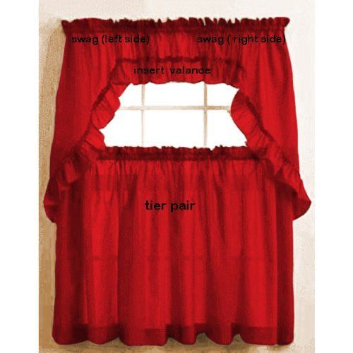 Stacey Ruffled Swag Red By The_Curtain_Shop. $15.99. Pair Of Swags. Made In  USA. Tier CurtainsCurtain ValancesCurtain ShopKitchen ...