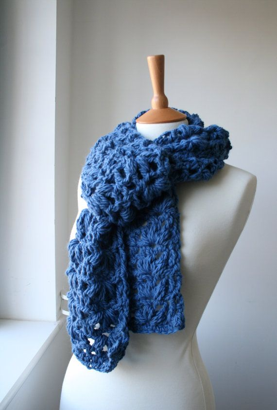 Knitting Pattern For Lace Snood : Crochet pattern, Scarf crochet pattern, super chunky lace scarf XXL, Super ch...