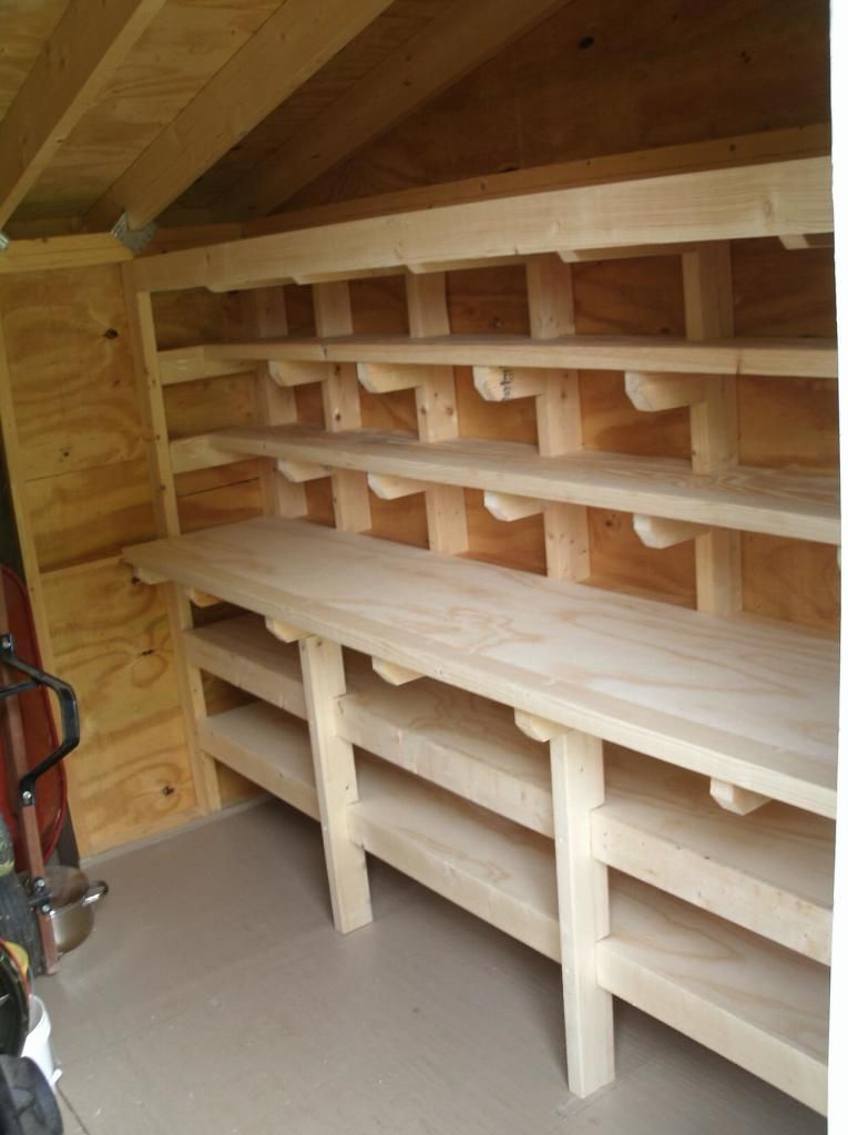 Shed Workbench And Shelves Storage Shed Organization