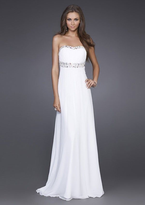 313e6f3b9 A-line Princess Sin Tirantes Abalorio Natural Floor-length Gasa Prom Dresses