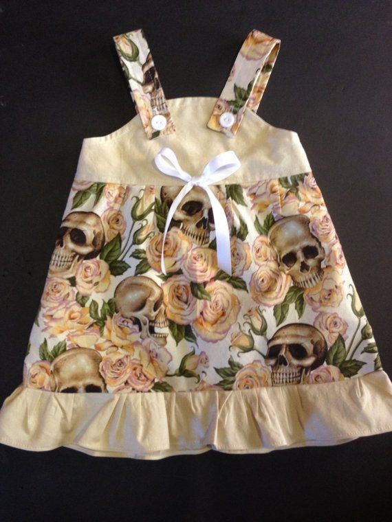 Skull /& Roses Alexander Henry Baby Infant Toddler Girls Dress *You Pick Size*
