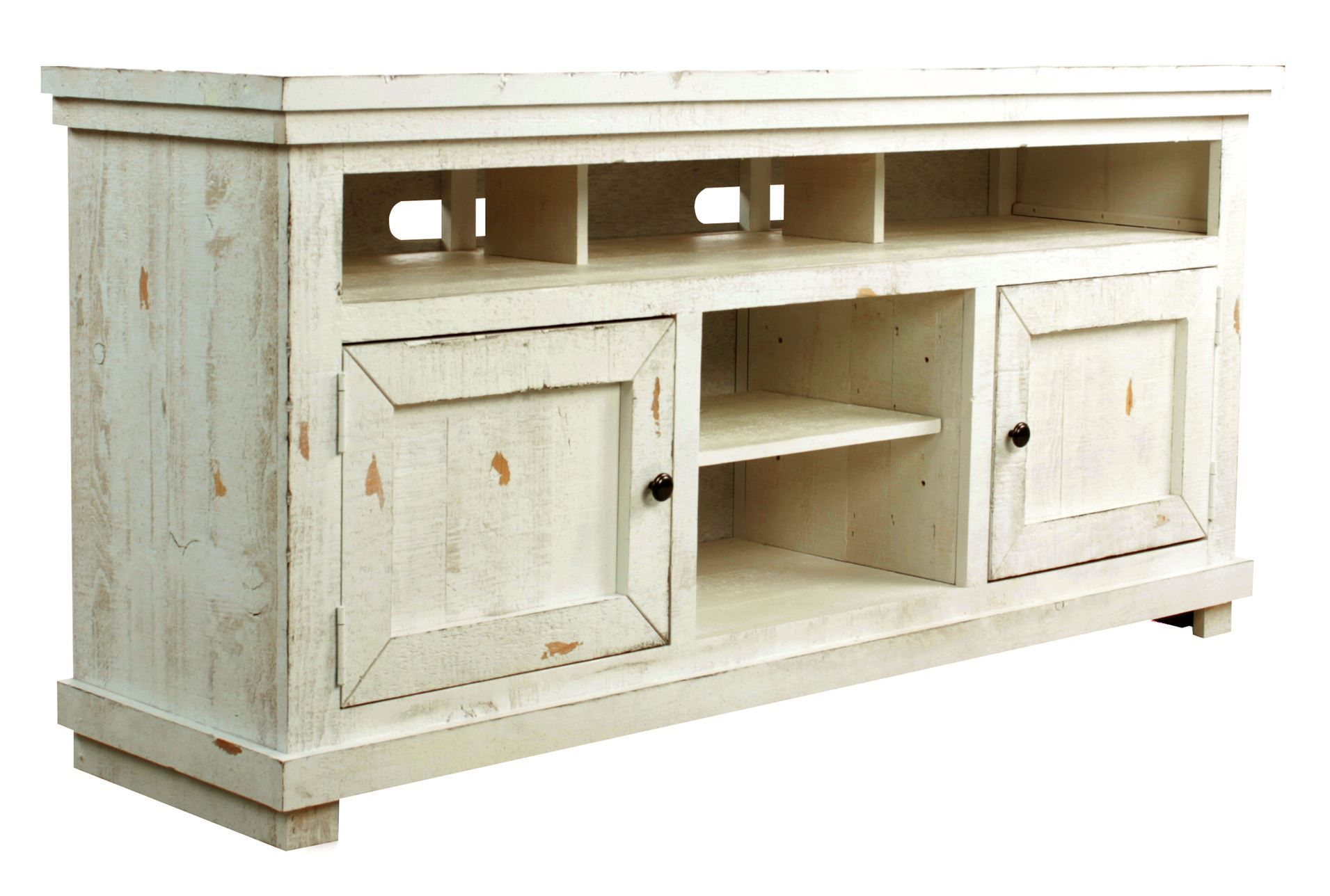 willow 74 tv stand tv stands cable box and glass panels - Distressed White Tv Stands