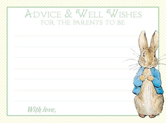 Peter Rabbit Wishes For Baby Notecard Gender Neutral Yellow And Green Peter Rabbit Baby Shower Shower Games Wishes For Baby Rabbit Baby Shower Note Cards