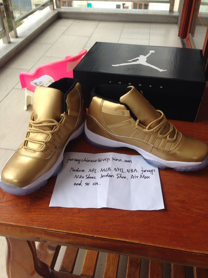627c0be0c060 Nike air jordan 11s all gold sample gold shoes color way  fabrique en  chine-Hecho en China style code  136046 019