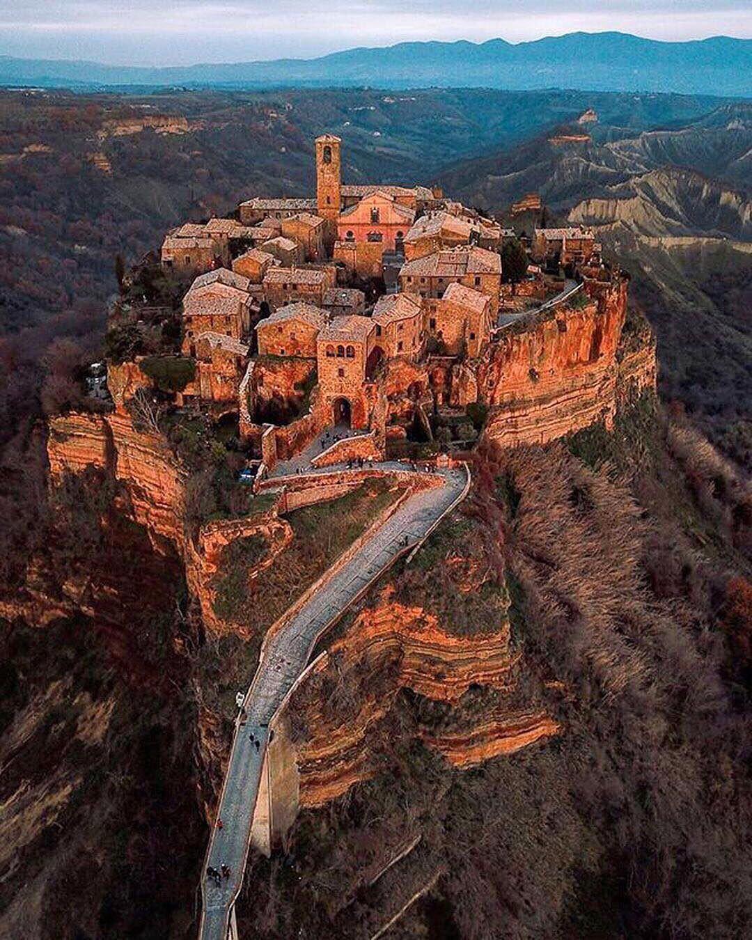 Civita di Bagnoreggio, a hilltop village in central Italy only ...