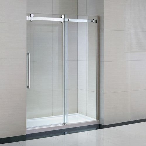 Sierra 60 X 82 Rectangle Sliding Shower Enclosure With Base Included Frameless Sliding Shower Doors Shower Doors Glass Shower Enclosures