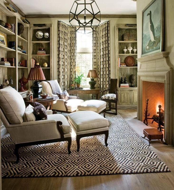 Library Den Atlanta Home Of Interior Designer Peggy: Home, Cozy Fireplace, Cozy Living Rooms