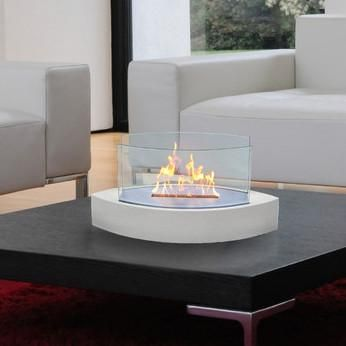 Lexington Elliptical Tabletop Fireplace   Gloss White