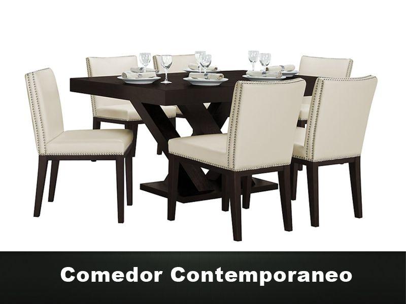 Comedor Contemporaneo de 6 sillas. Mesa de MDF y sillas tapizadas ...
