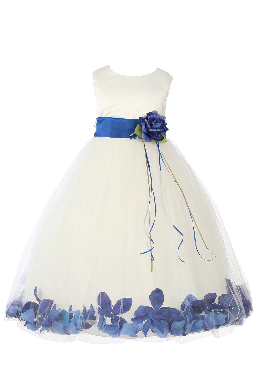 3e7e58ed658 JM DREAMLINE Ivory Royal Blue Girls Sleeveless Satin Flower Petal Dress  with Sash-12