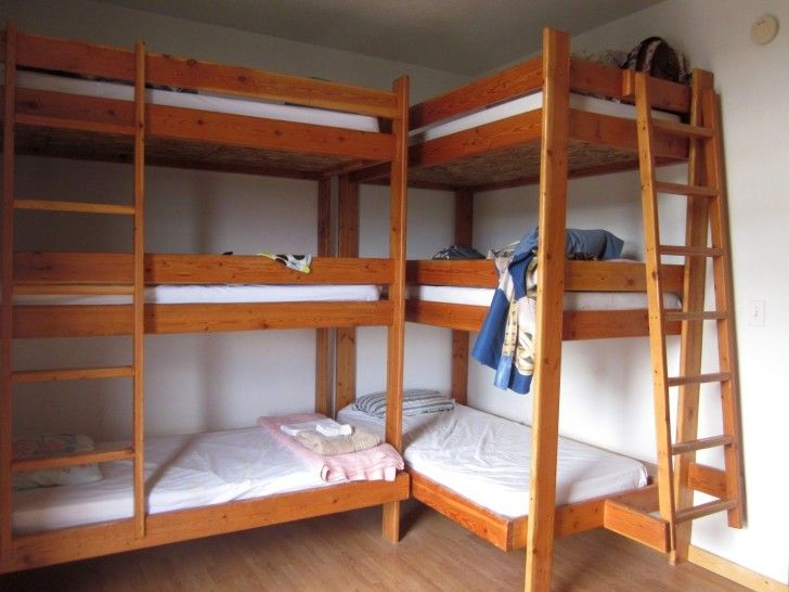 Bedroom Double Brown Wooden Homemade Bunk Beds With Three White Bed