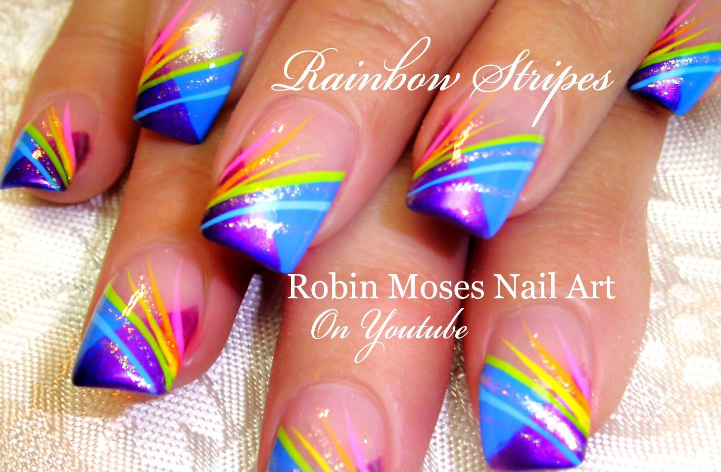 Nail Art Tutorial | Rainbow Striped Nails | Chevron French Nail ...