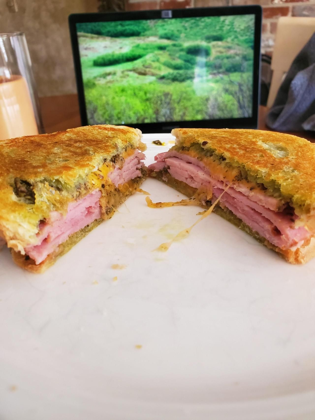 Simple Ham And Cheese With Pesto On Sourdough Food Recipes Reddit Sandwich Summer In 2020 Food Ham And Cheese Asian Food Channel