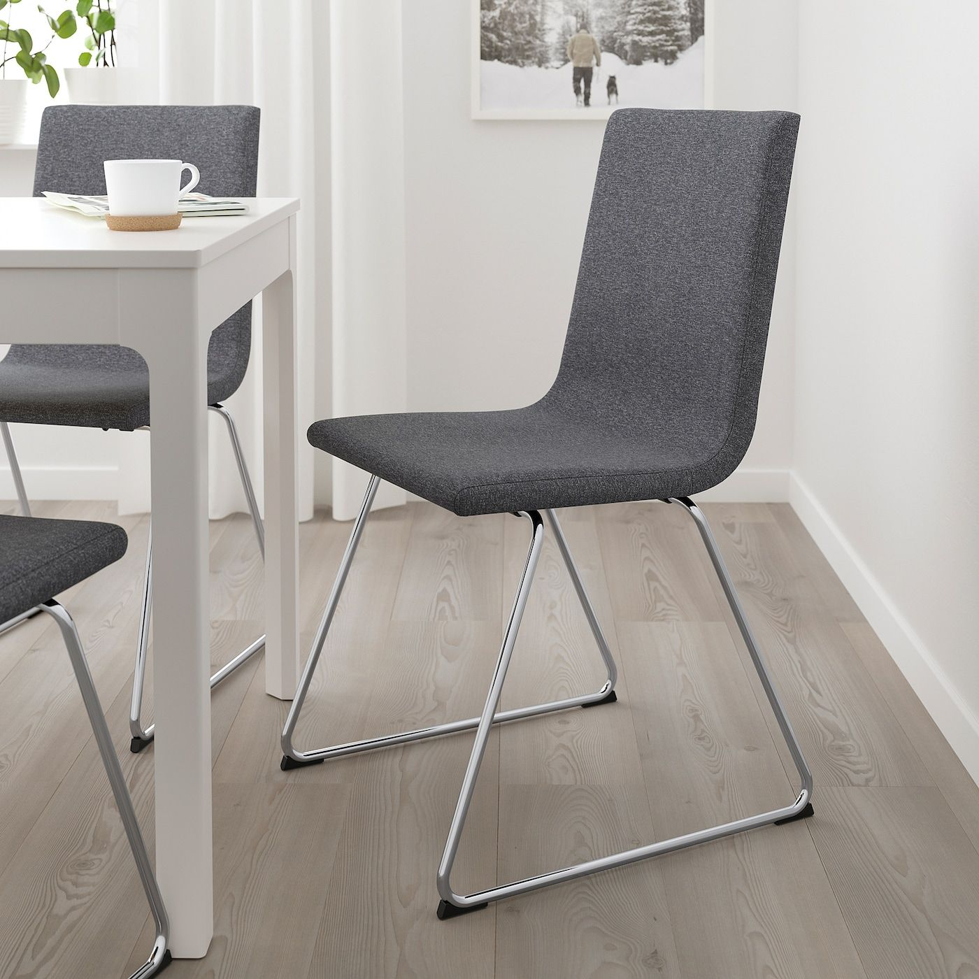 Volfgang Chair Chrome Plated Gunnared Medium Gray Ikea In 2020 Leder Esszimmer Stuhle Ikea Stuhle Esszimmer Venjakob Mobel
