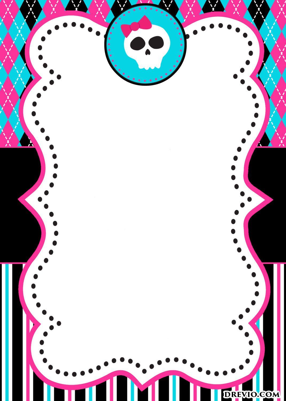 FREE Printable Monster High Birthday Invitations | Drevio ...