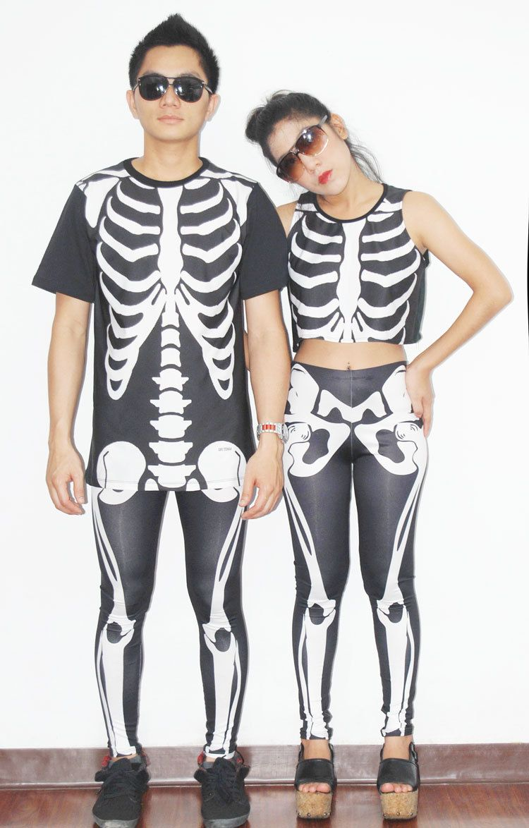 new halloween costumes for women and men in white bone skeleton