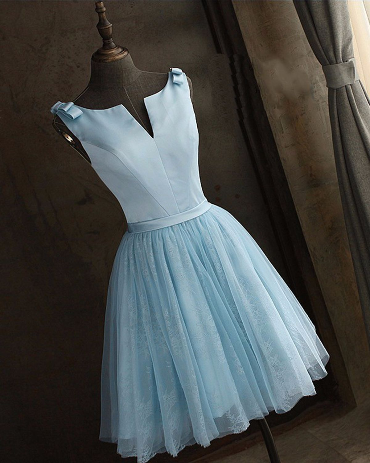 Simple baby blue satin prom dress, homecoming party dress, short ...
