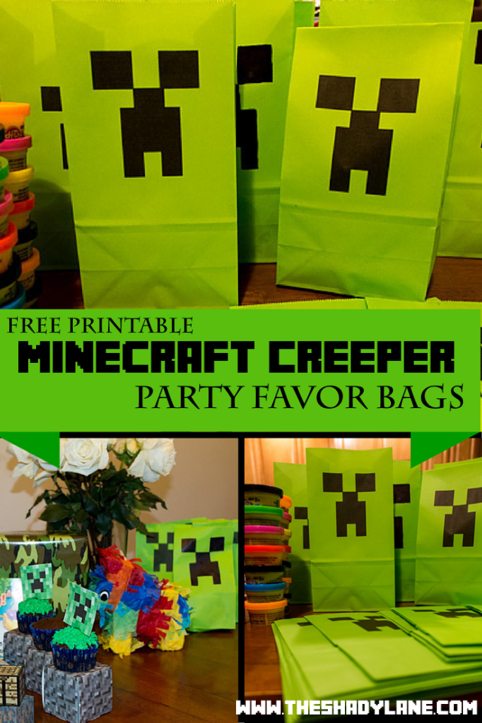 Free Printable Minecraft Creeper Party Bags Loot Bags