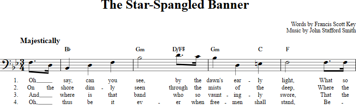 The Star-Spangled Banner sheet music with chords and lyrics for bass ...