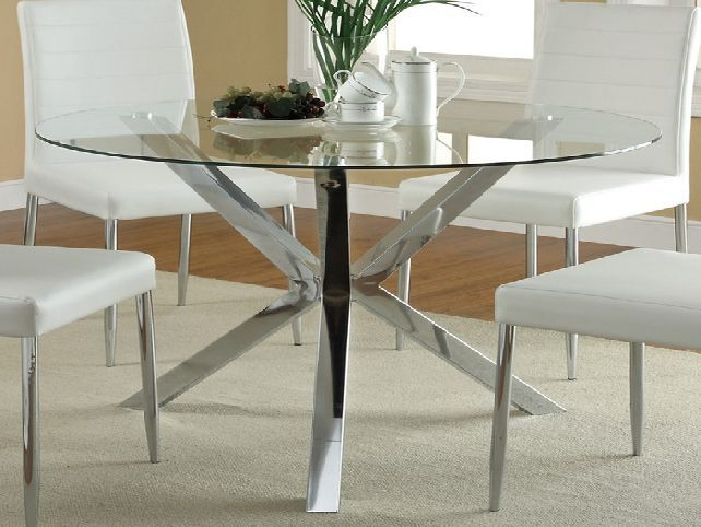 Glass Dining Table round-glass-top-dining-table-metal-base | furniture