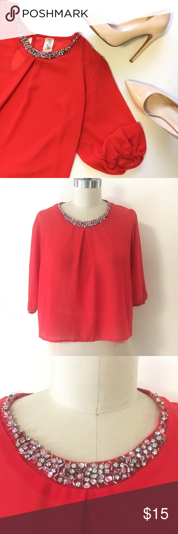 Red cute crop blouse sz M Super cute blouse in red. With rhinestone neckline. Tops Blouses