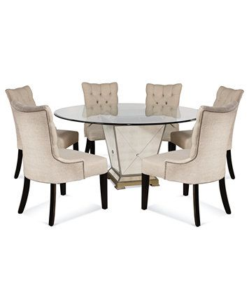 Marais Dining Room Furniture 7 Piece Set 60 Mirrored Dining