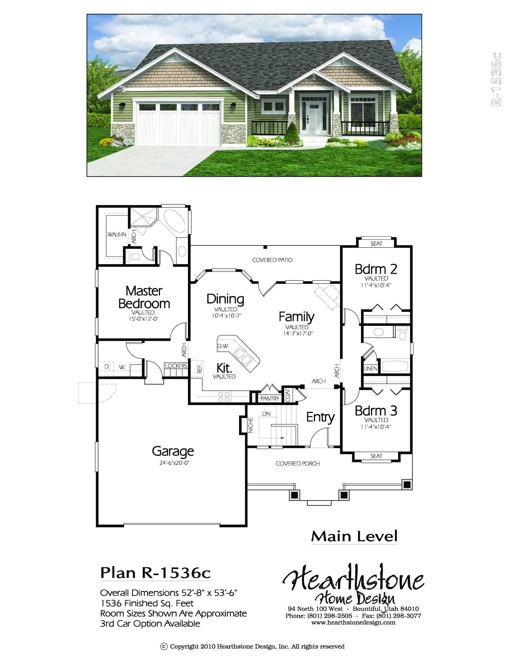 R 1536c Hearthstone Home Design Sims House Plans Ranch Style House Plans Building Plans House