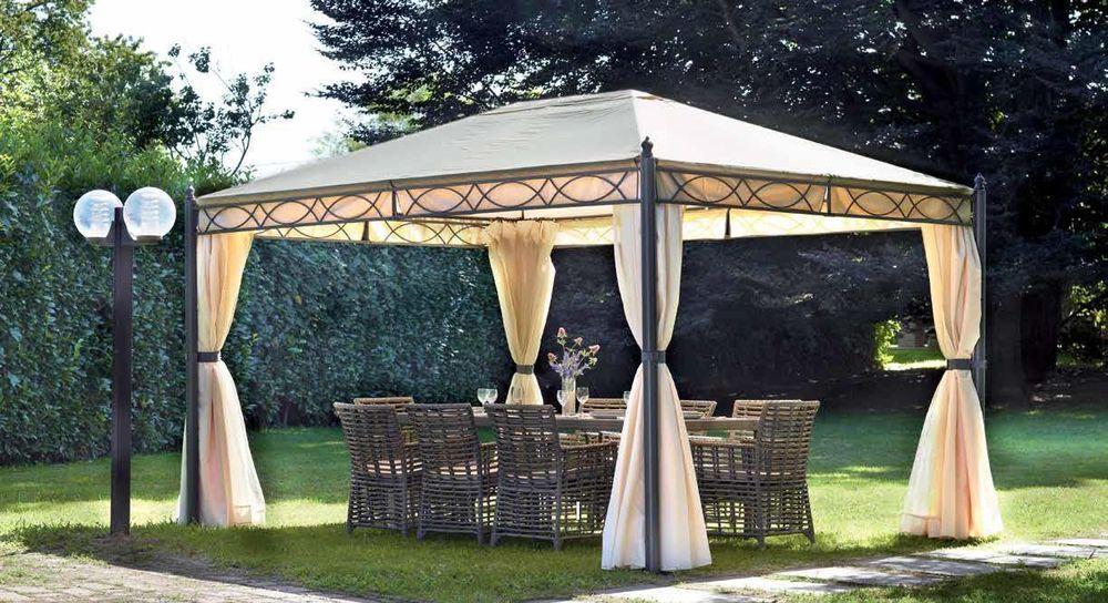 Gazebo 3x4 da giardino con tende laterali e zanzariere for Teli laterali per gazebo leroy merlin