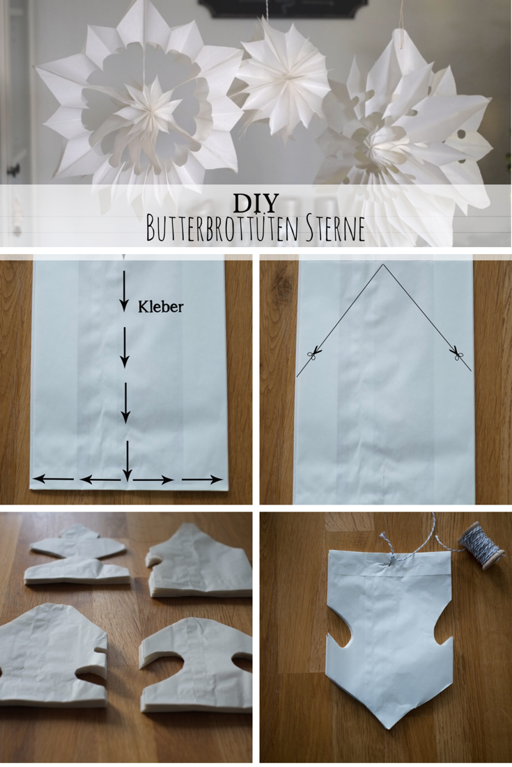 DIY Butterbrottüten Sterne: Mit meiner Schritt-für-Schritt Anleitung könnt ihr diese weihnachtliche Deko einfach nachbasteln! #DIY #Weihnachten #Basteln #weihnachtlichefensterdeko