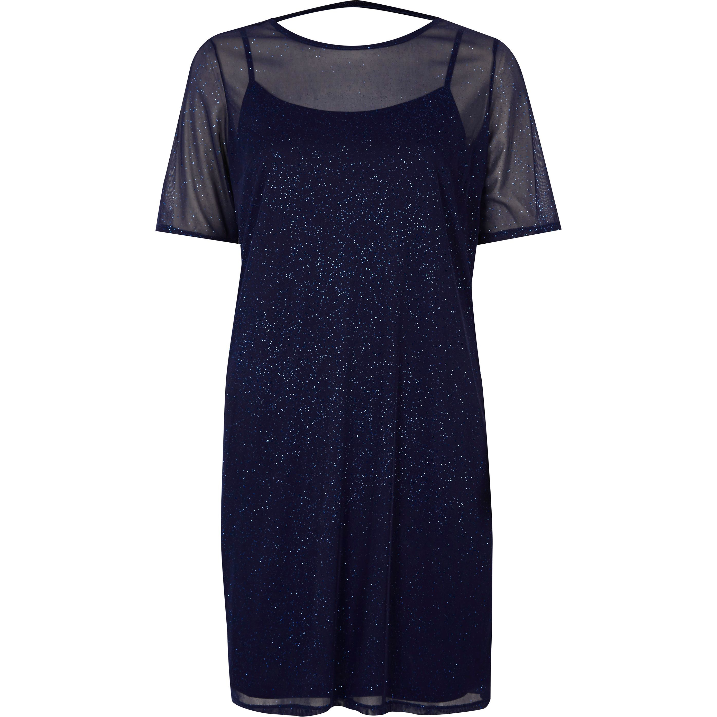 4d771033785117 Dark Blue glitter mesh T-shirt dress in 2019